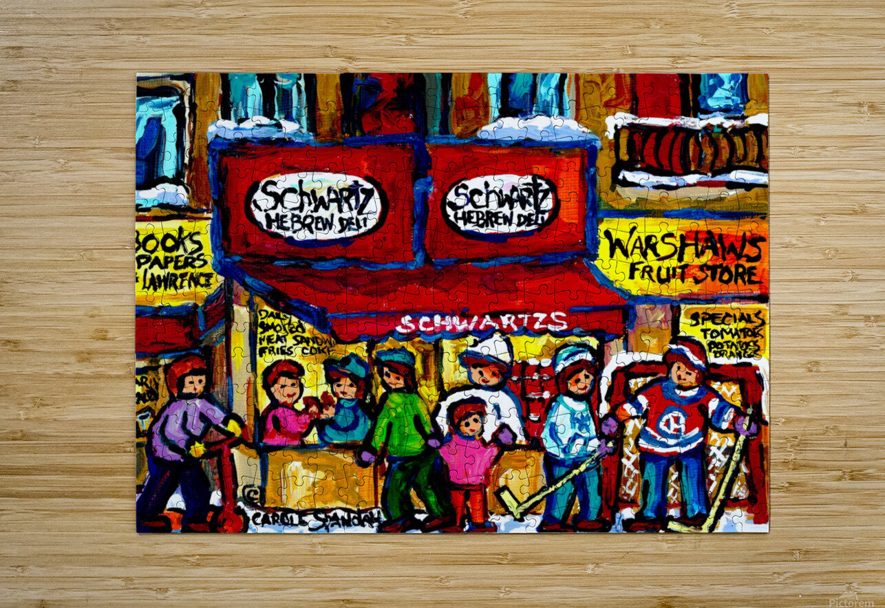 SCHWARTZ S DELI MONTREAL MONTREAL WINTER SCENE PAINTING   HD Metal print with Floating Frame on Back