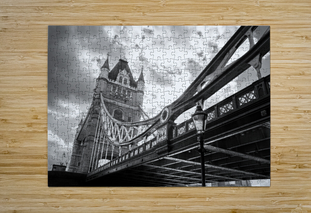 The Might of Tower Bridge Black and White  HD Metal print with Floating Frame on Back