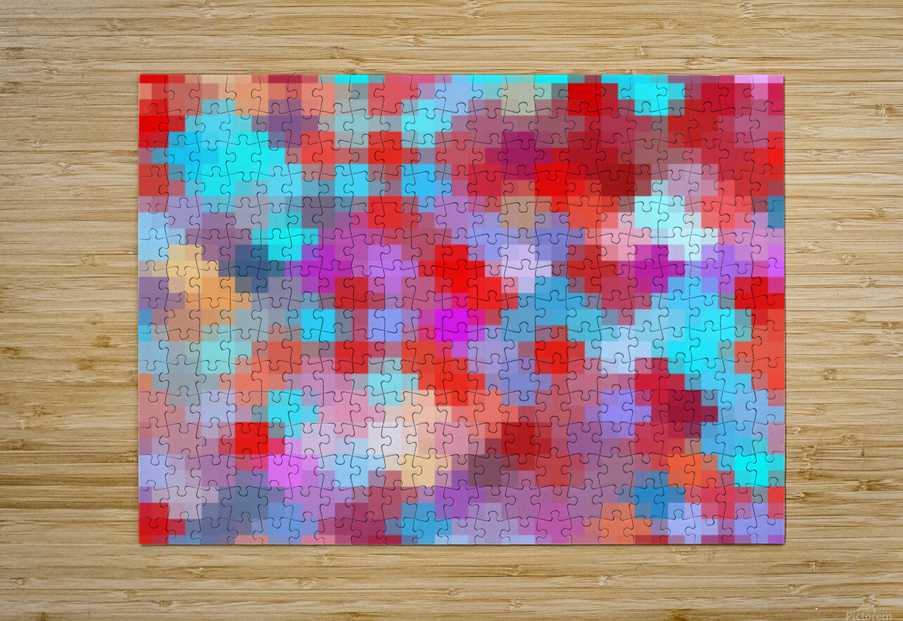geometric square pixel pattern abstract in pink red blue  HD Metal print with Floating Frame on Back