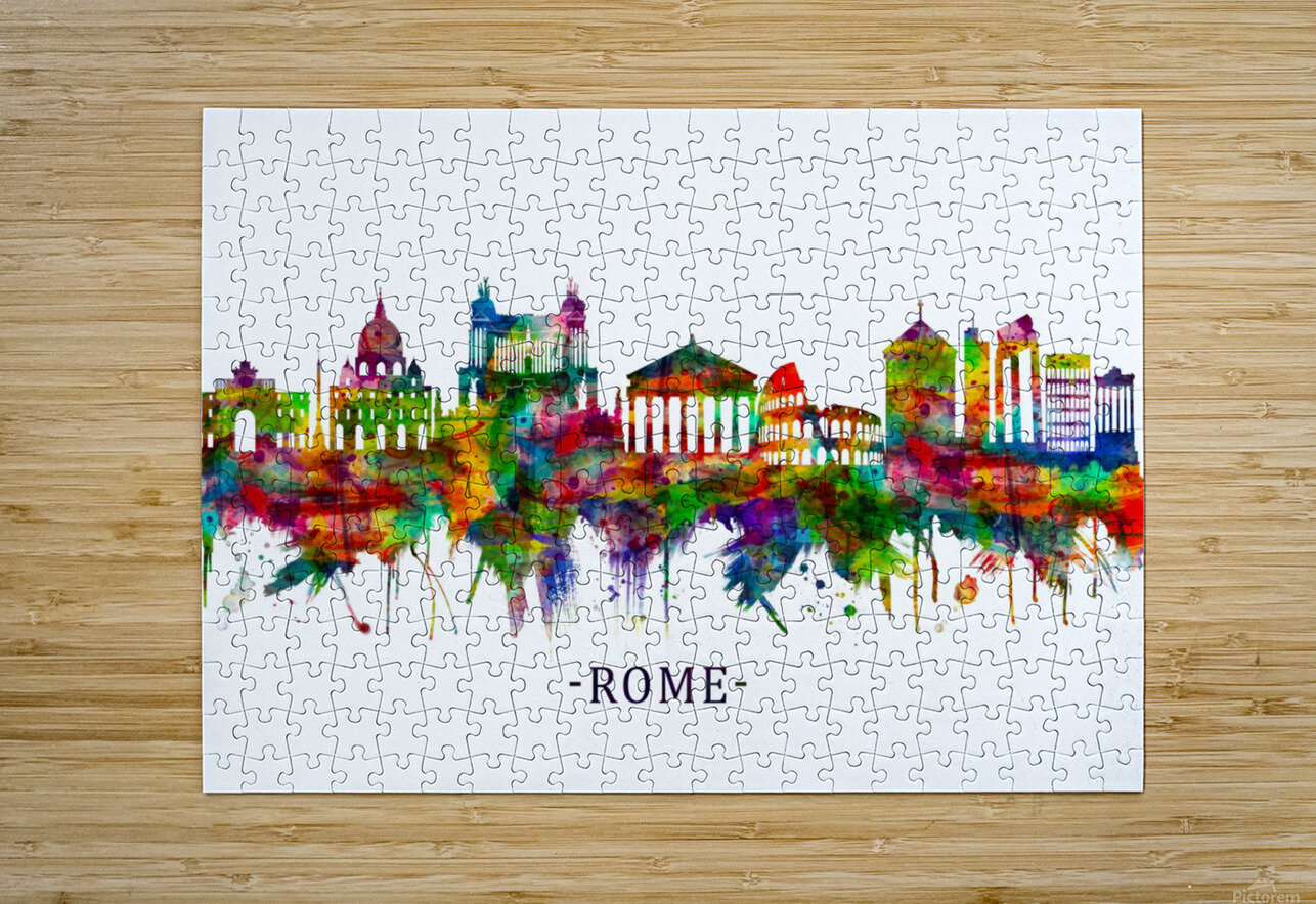 Rome Italy Skyline  HD Metal print with Floating Frame on Back