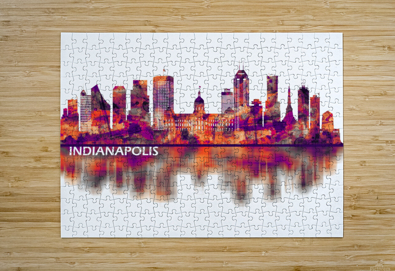 Indianapolis Indiana Skyline  HD Metal print with Floating Frame on Back