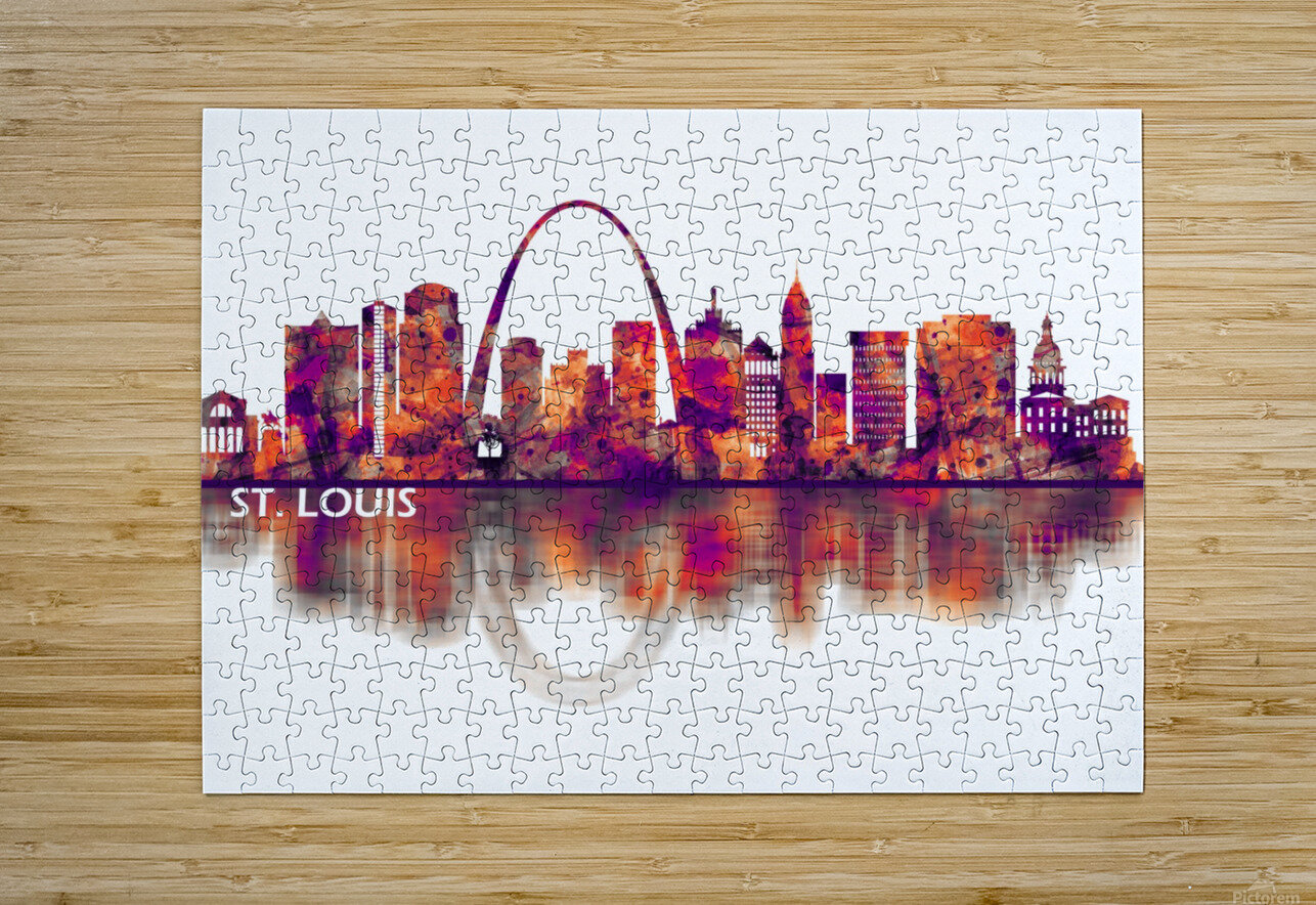 St. Louis Missouri Skyline  HD Metal print with Floating Frame on Back