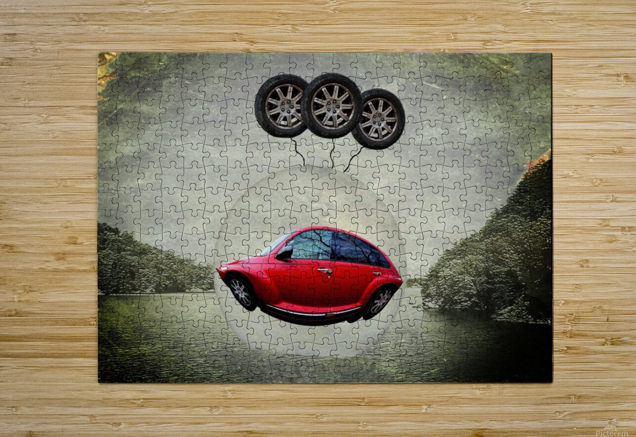 a flying car  HD Metal print with Floating Frame on Back