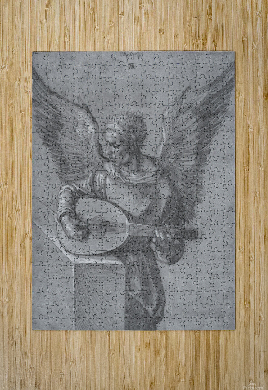 Winged Man In Idealistic Clothing, playing a Lute  HD Metal print with Floating Frame on Back