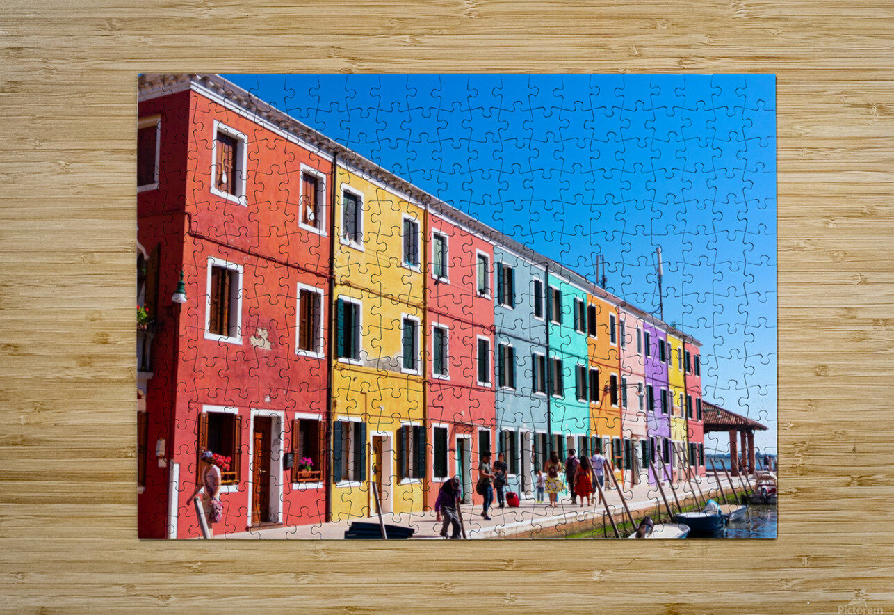 Colorful Venice Houses  HD Metal print with Floating Frame on Back