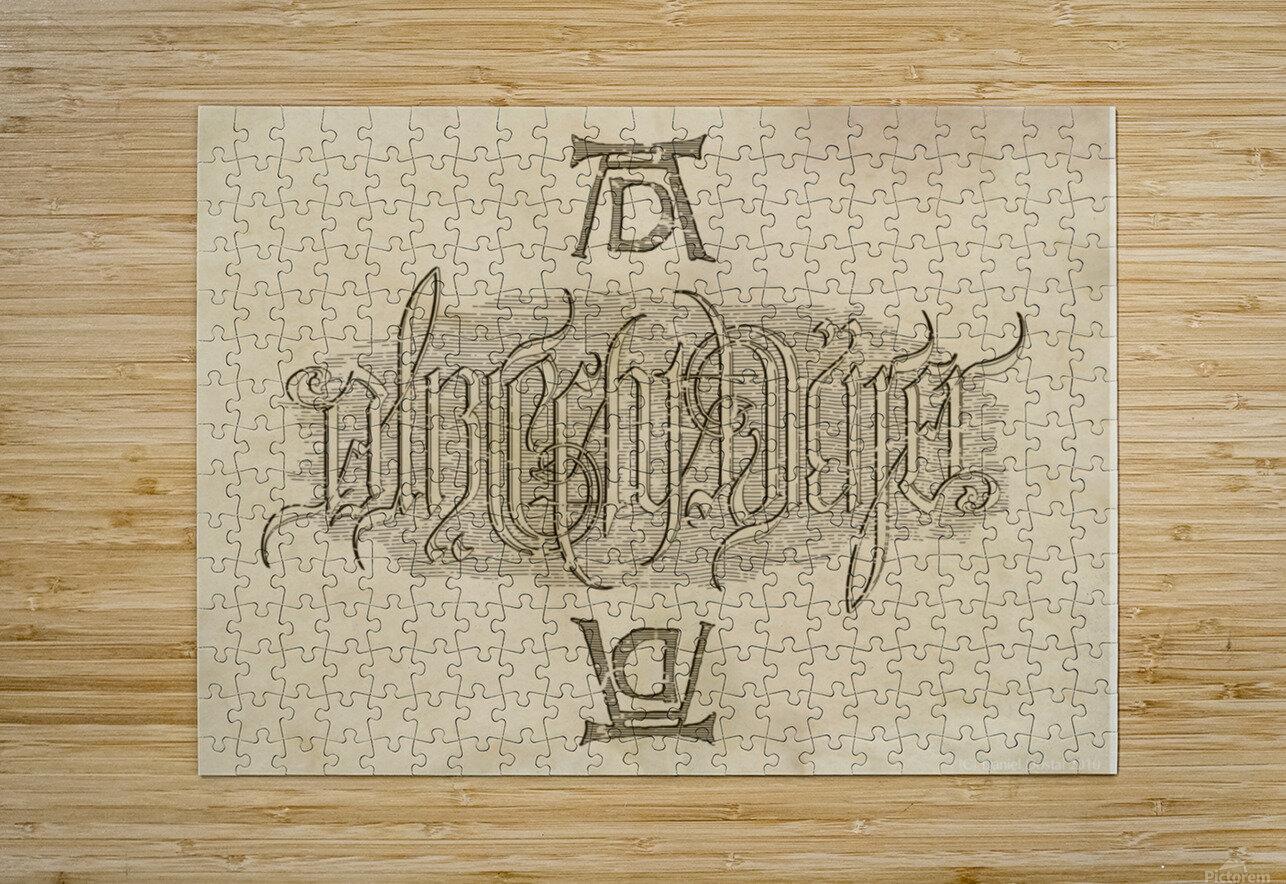 Albrecht Durer Ambigram  HD Metal print with Floating Frame on Back