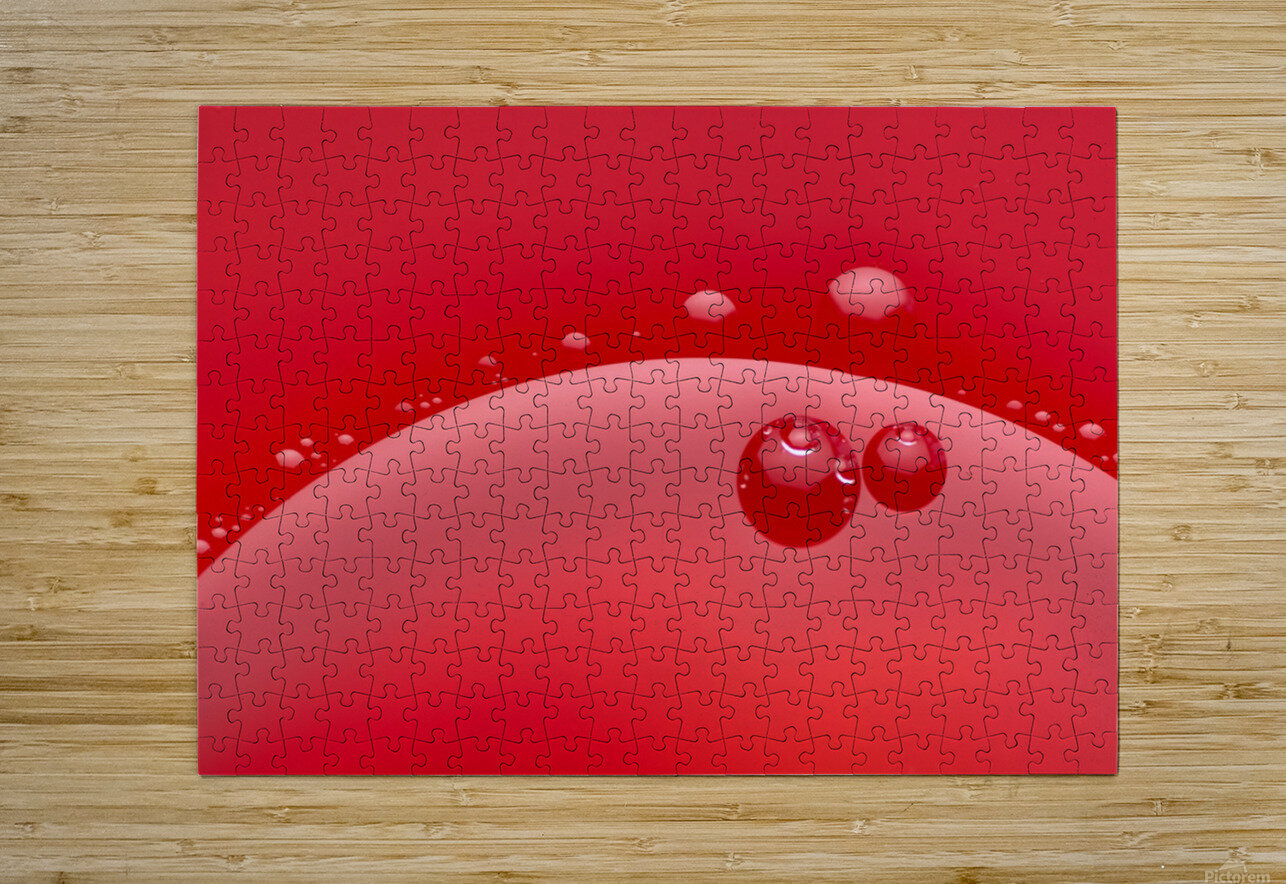 Abstract background of red color and circle shape  HD Metal print with Floating Frame on Back