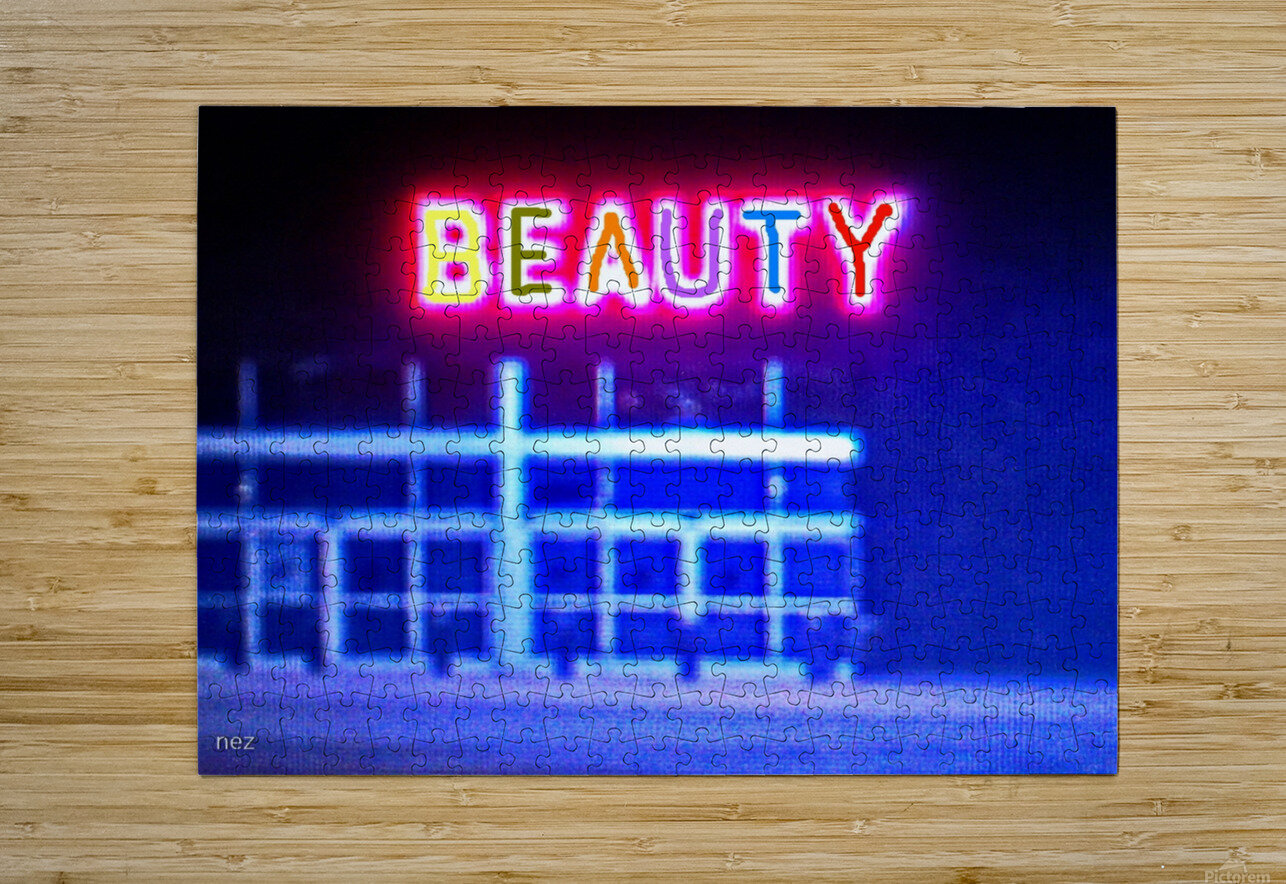 Neon  HD Metal print with Floating Frame on Back