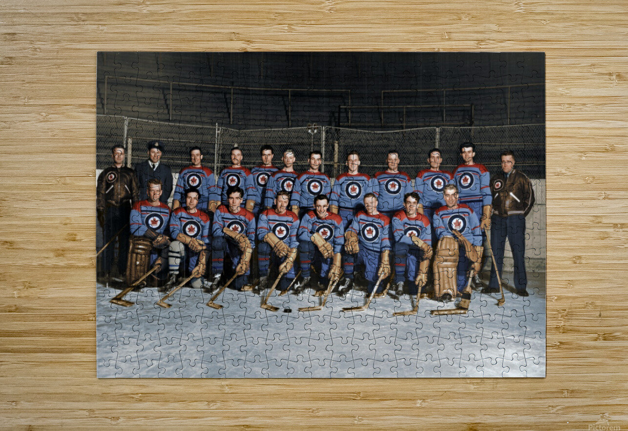 RCAF Flyers - Canadian Olympic Hockey Team October 29 1947  HD Metal print with Floating Frame on Back
