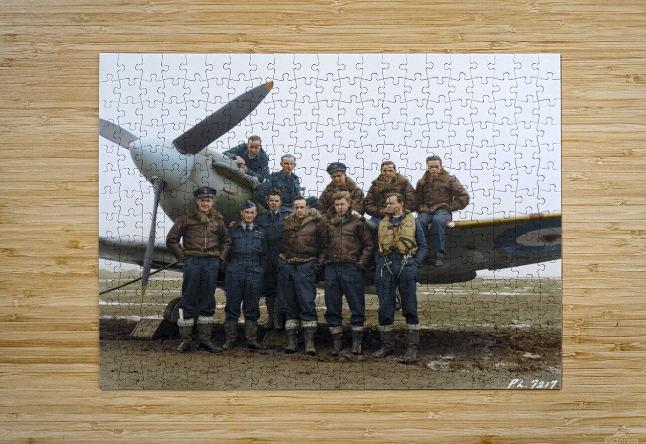 Members of 403 Squadron RCAF February 12 1942  HD Metal print with Floating Frame on Back