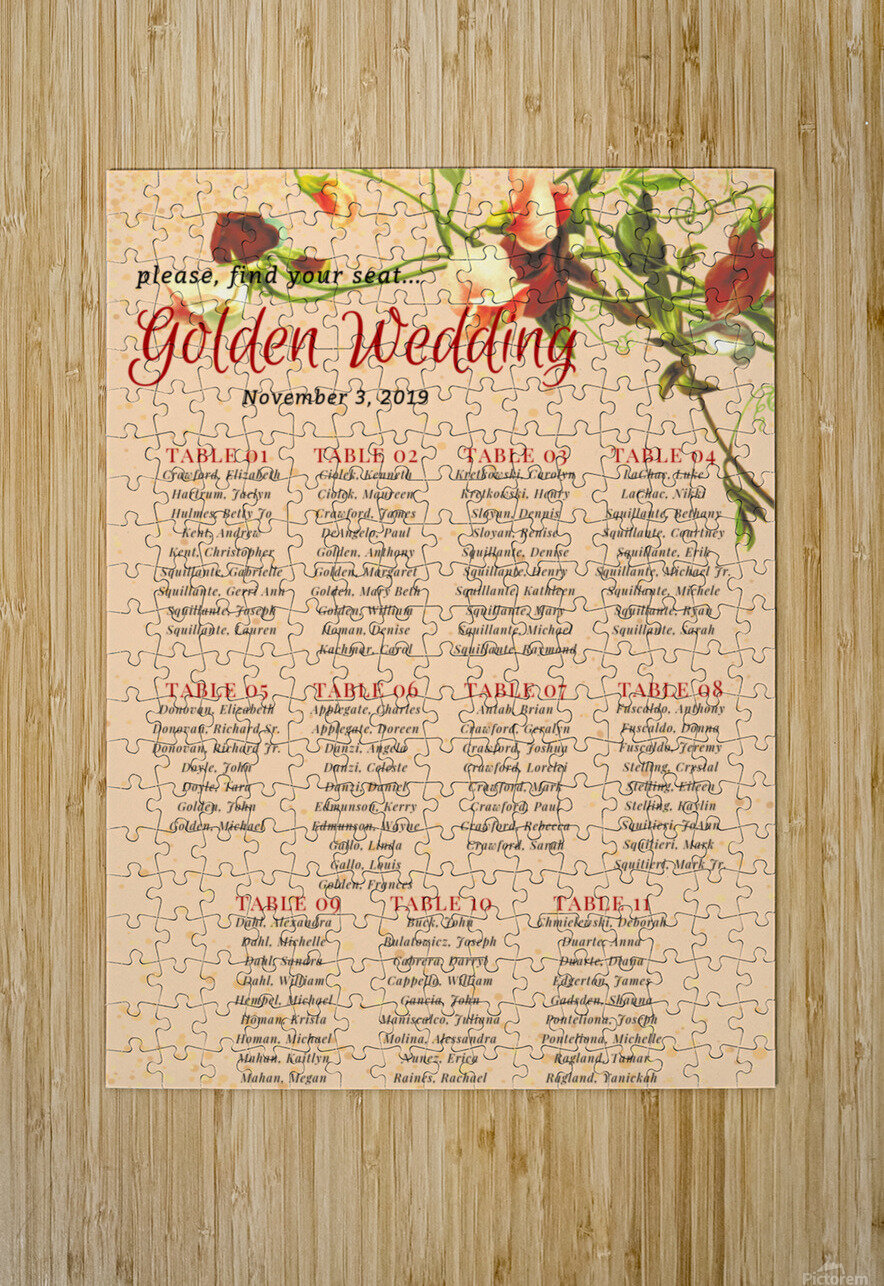 Maroon Floral Vintage Spring Formal Seating Chart  HD Metal print with Floating Frame on Back