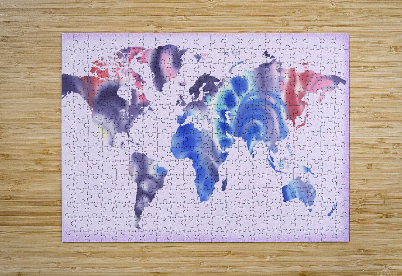 Watercolor Silhouette World Map Lilac Blue And Purple  HD Metal print with Floating Frame on Back