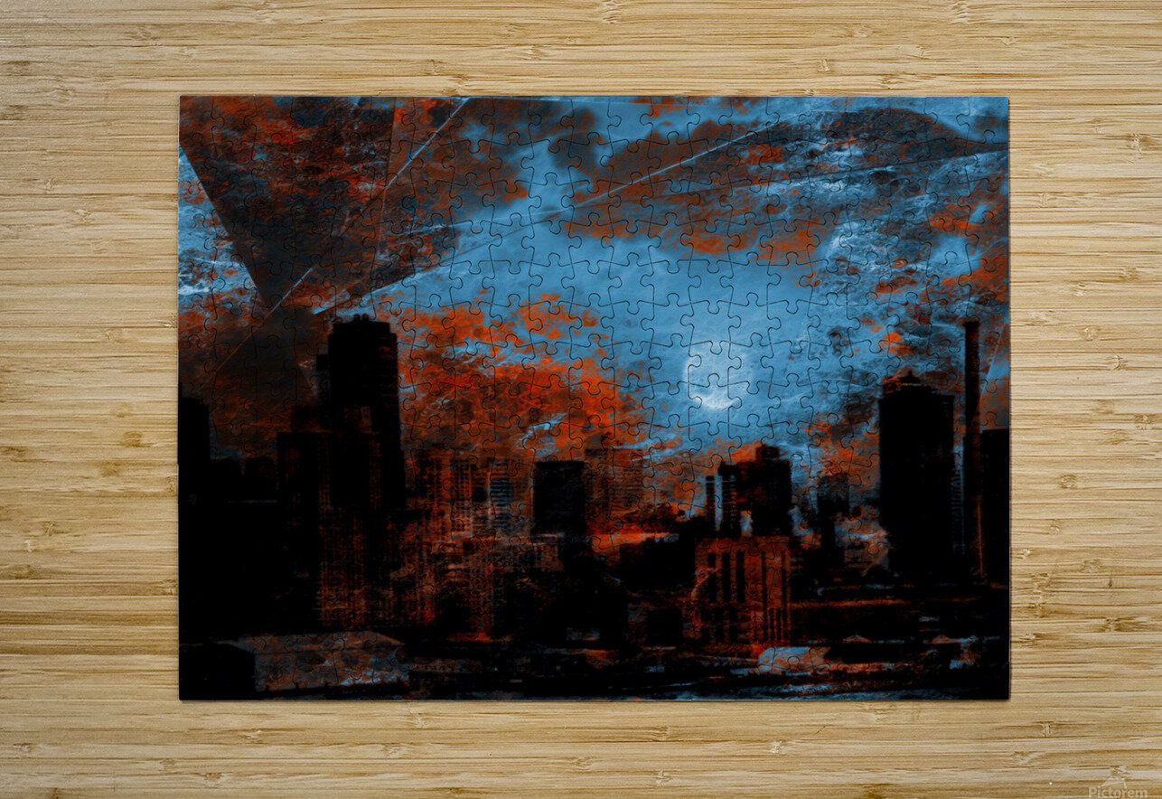 NYC Waterfront Abstraction  HD Metal print with Floating Frame on Back