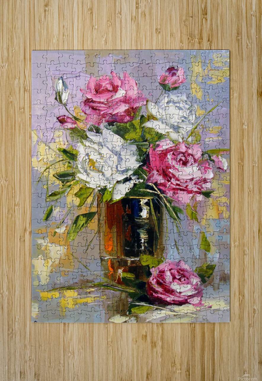 Bouquet of delicate roses  HD Metal print with Floating Frame on Back