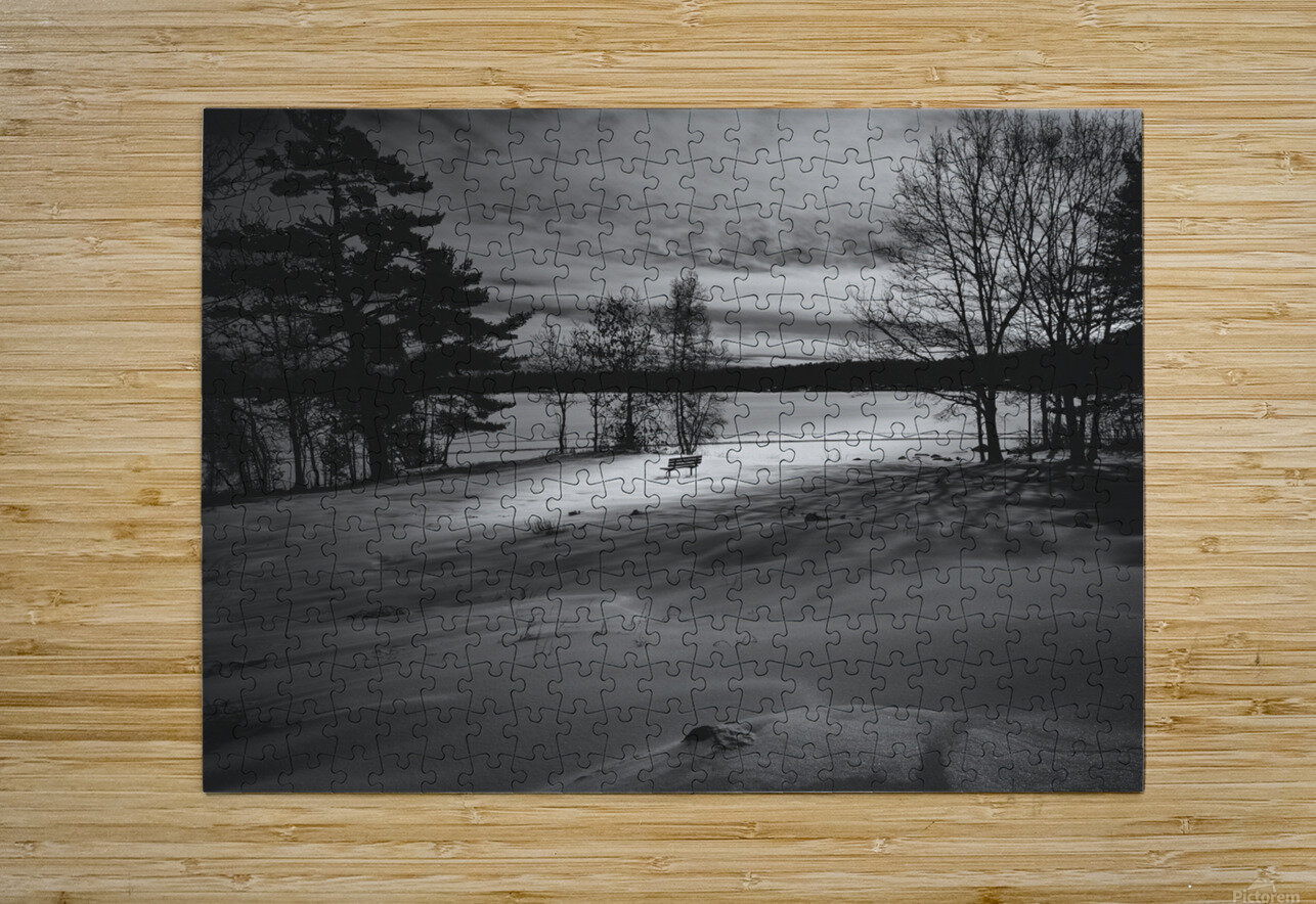 Empty Bench  HD Metal print with Floating Frame on Back