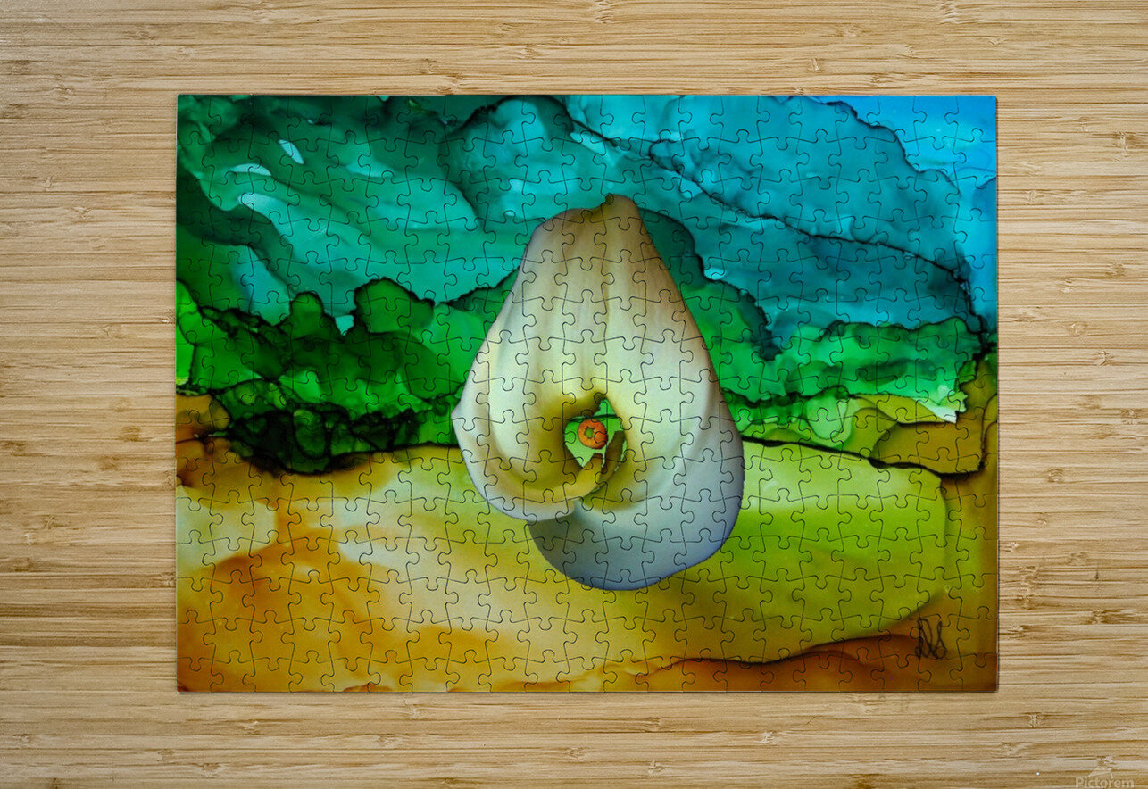 Alcohol Ink and Lily II  HD Metal print with Floating Frame on Back