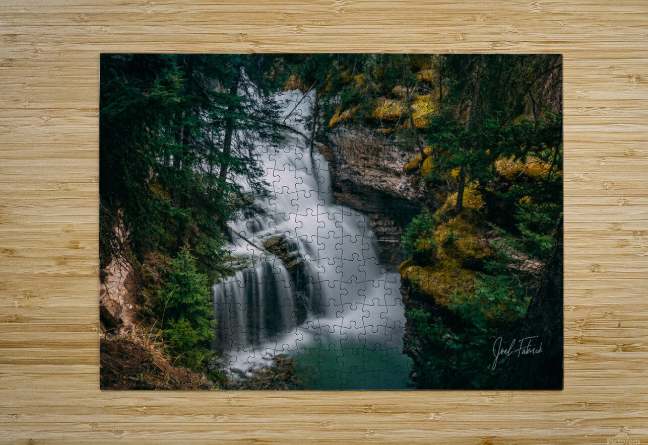 Johnson Canyon Trail Falls Long Exposure  HD Metal print with Floating Frame on Back