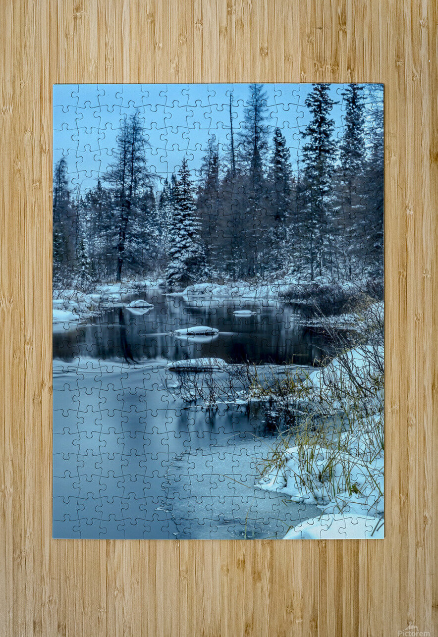 River and snow  HD Metal print with Floating Frame on Back