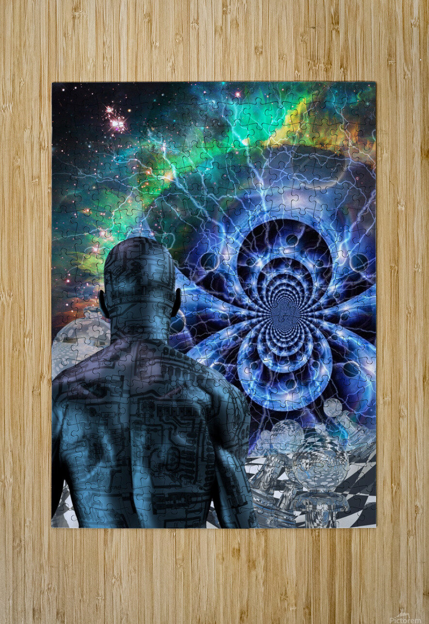 Cyborg in Surreal Space  HD Metal print with Floating Frame on Back