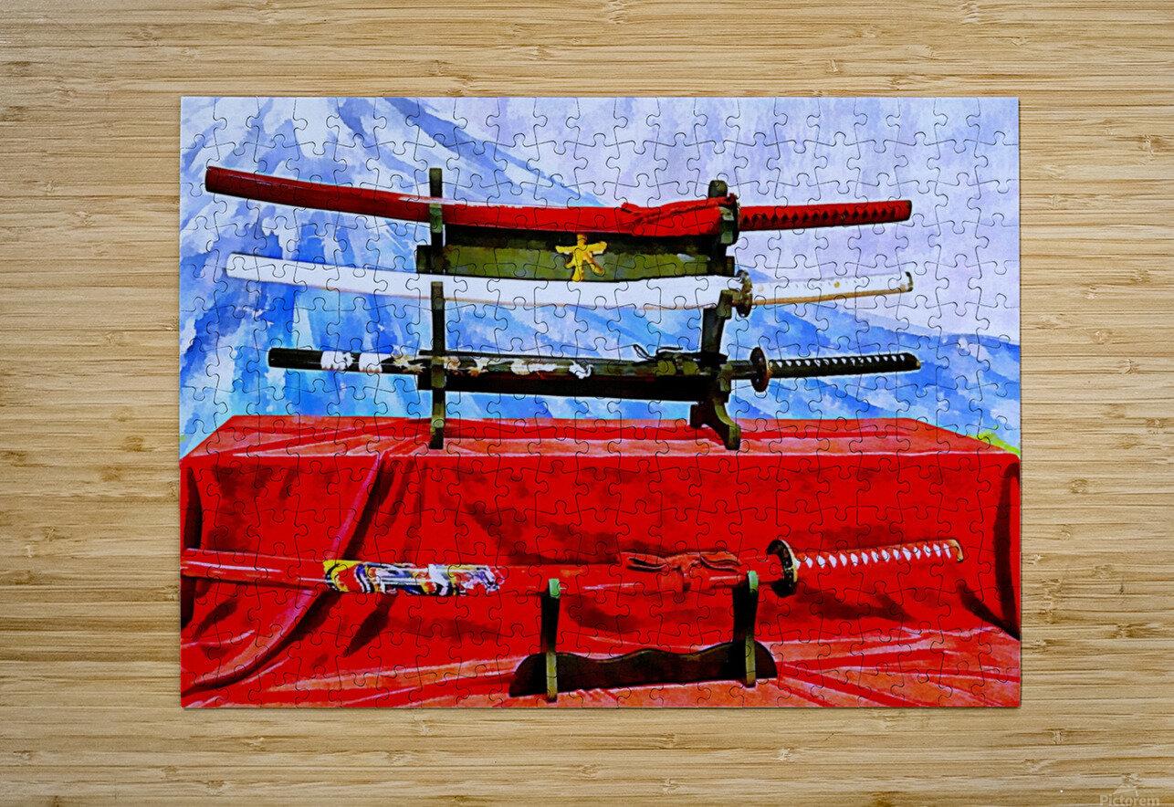 Japanese Sword Display  HD Metal print with Floating Frame on Back