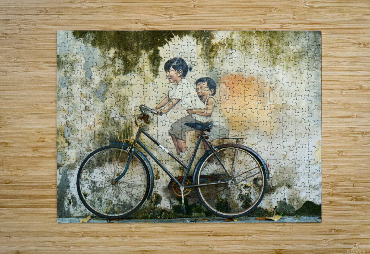 Kid And His Sister On A  Bicycle  Painting    HD Metal print with Floating Frame on Back