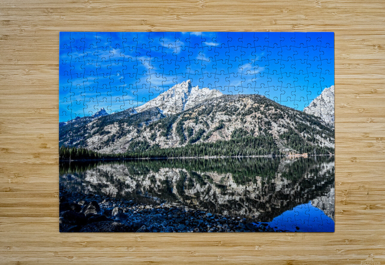 Teton reflection in Jenny lake  HD Metal print with Floating Frame on Back