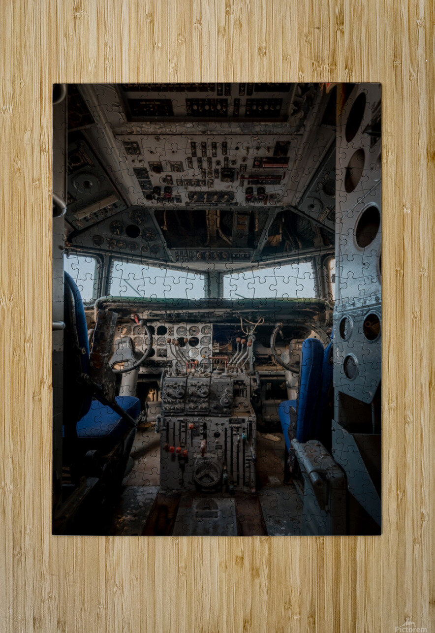 Abandoned Airplane Cockpit  HD Metal print with Floating Frame on Back