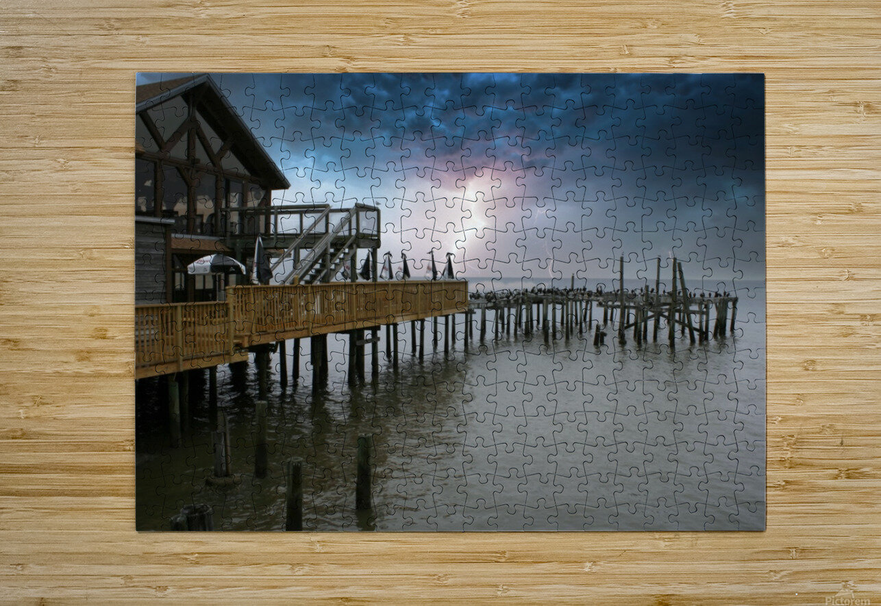Lightning over Pier  HD Metal print with Floating Frame on Back