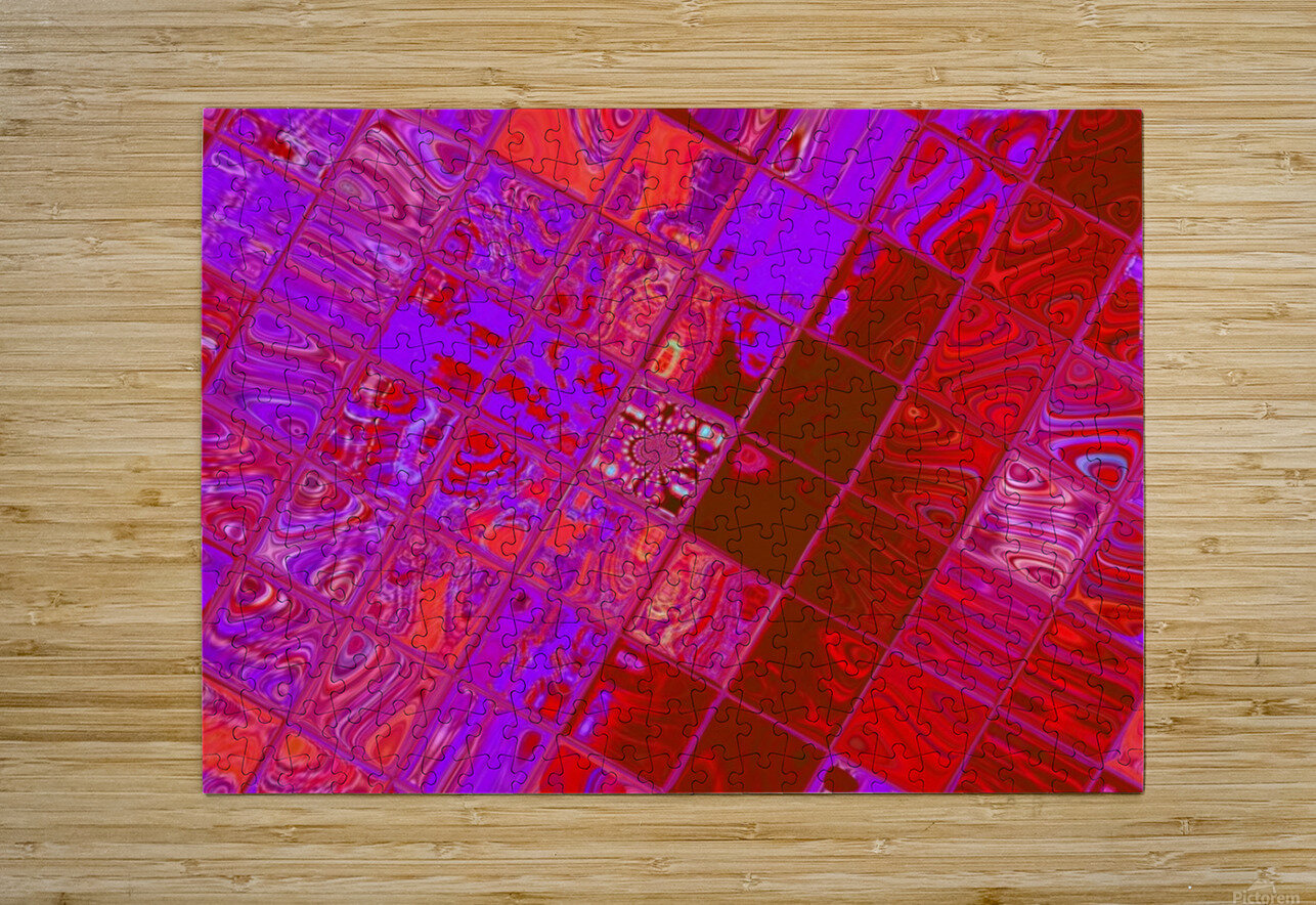 Red Psychedelic Squares 1  HD Metal print with Floating Frame on Back