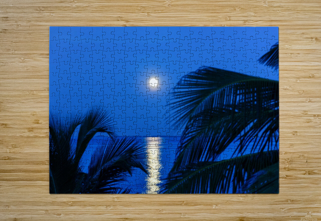 Moon rise at Cayman Kai  HD Metal print with Floating Frame on Back