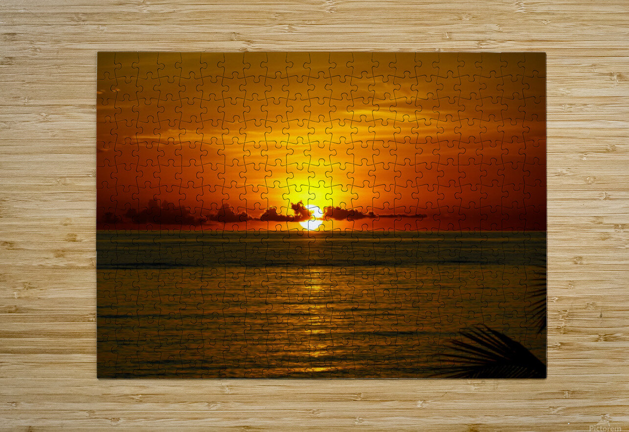 Sun rising on the Caribbean  HD Metal print with Floating Frame on Back