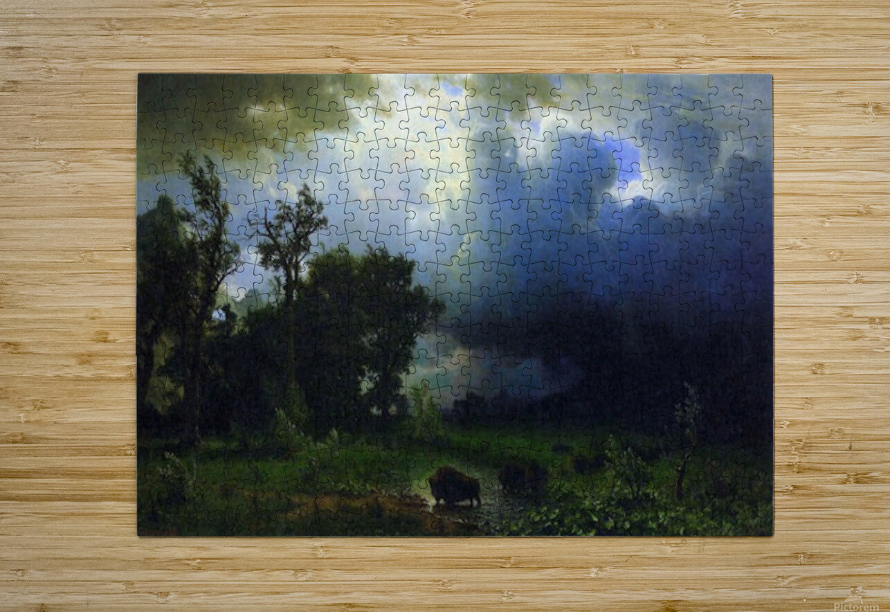 Before the Storm by Bierstadt  HD Metal print with Floating Frame on Back
