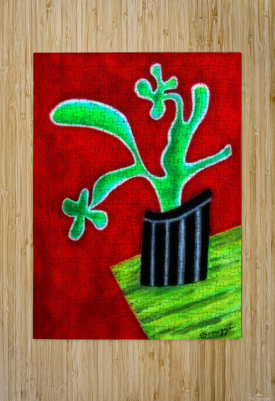 Cactus on Green Table  HD Metal print with Floating Frame on Back