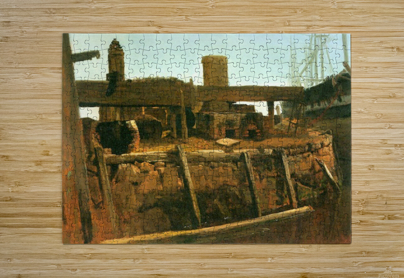 Boat at the dock by Bierstadt  HD Metal print with Floating Frame on Back