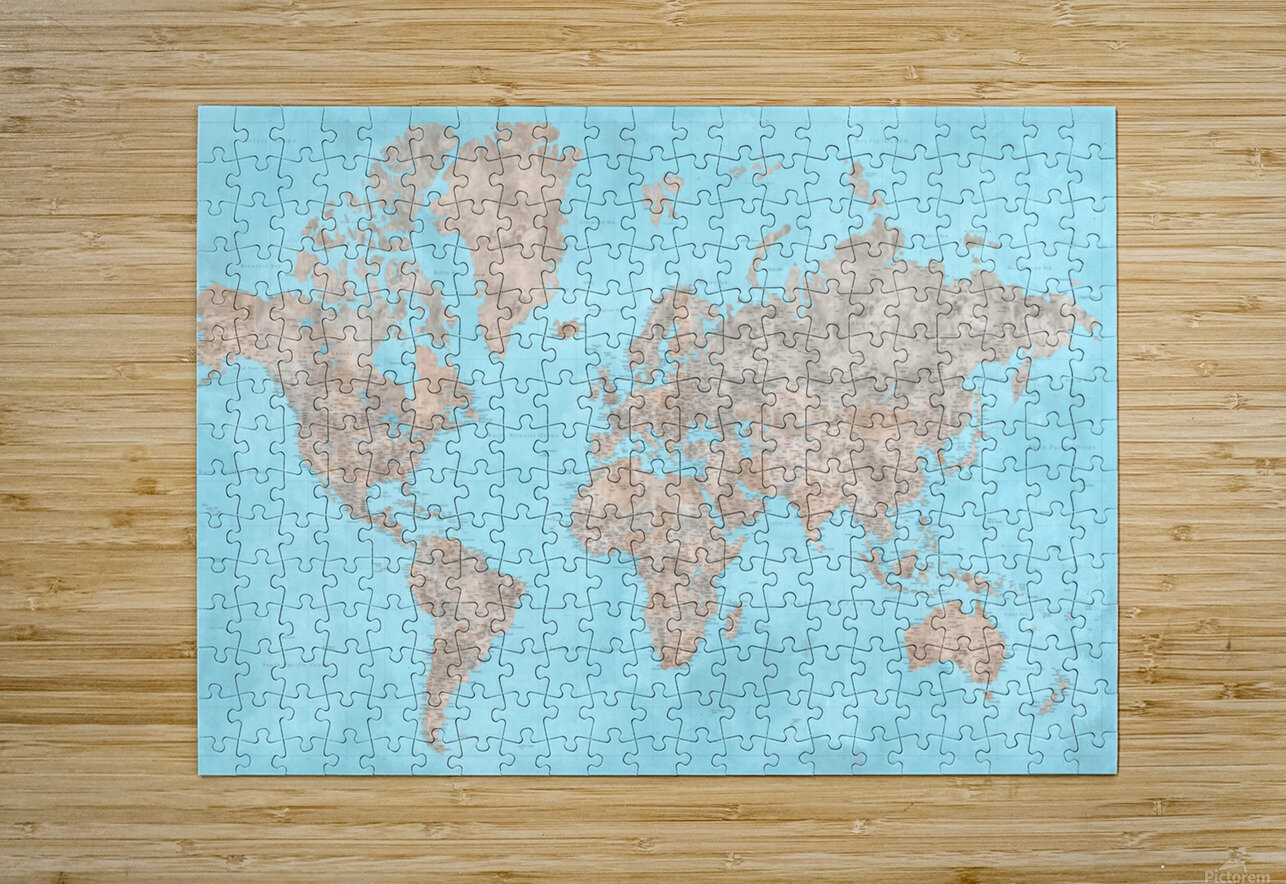 highly detailed watercolor world map in neutrals and light blue  HD Metal print with Floating Frame on Back