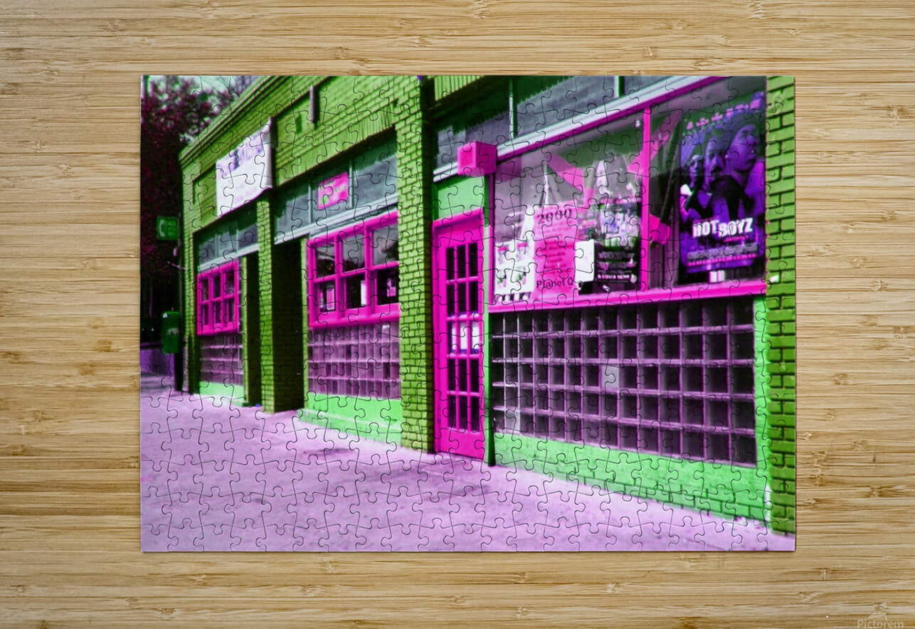 Atlanta Street Scene -- Fuchsia & Lime  HD Metal print with Floating Frame on Back