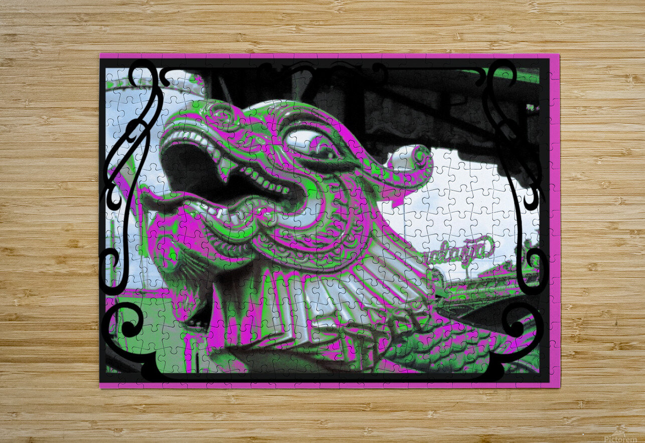 Carnival Creature in Purple & Green  HD Metal print with Floating Frame on Back