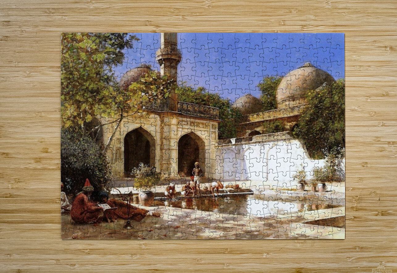 Figures in the Courtyard of a Mosque  HD Metal print with Floating Frame on Back