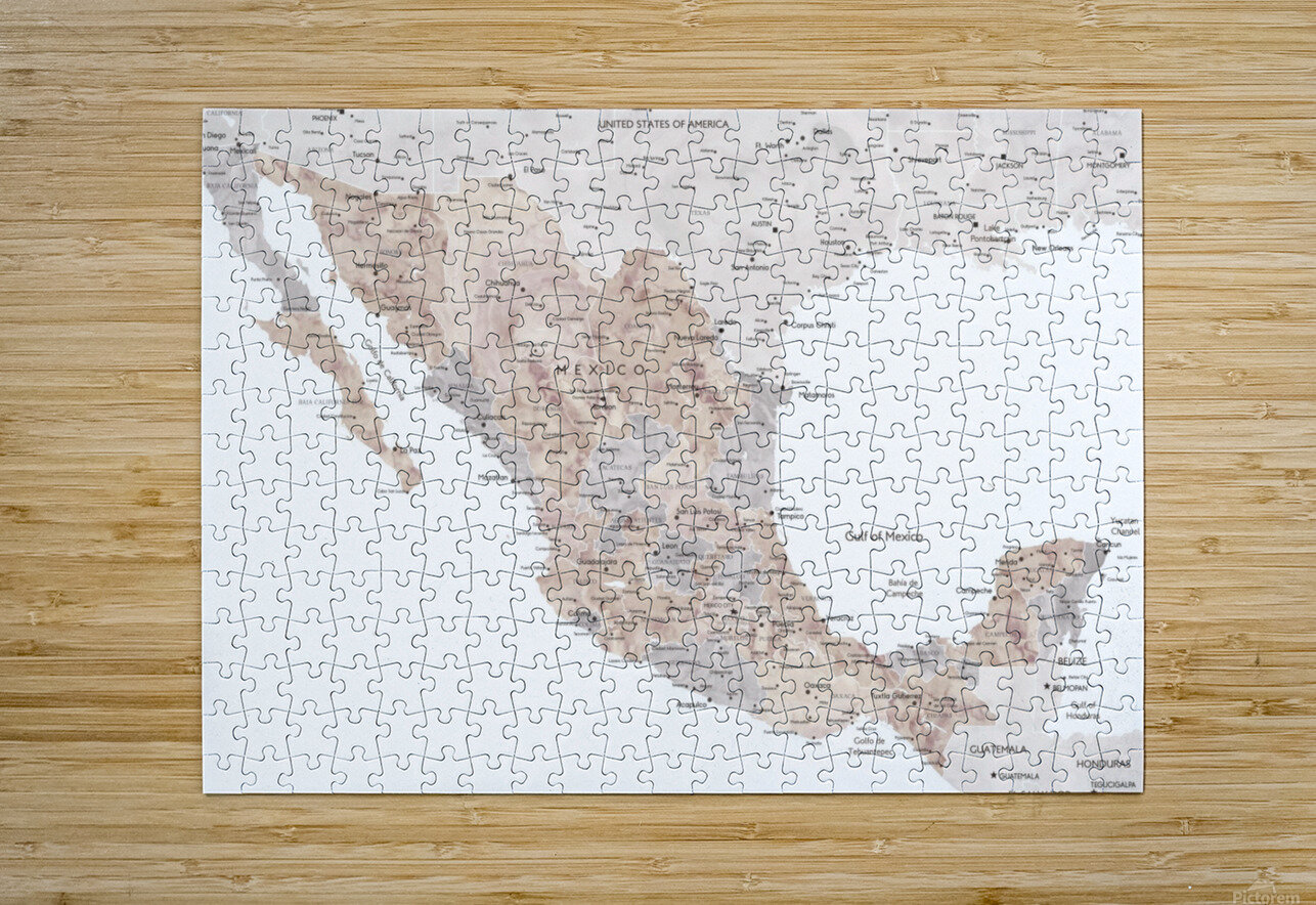 Detailed map of Mexico in neutral watercolor  HD Metal print with Floating Frame on Back