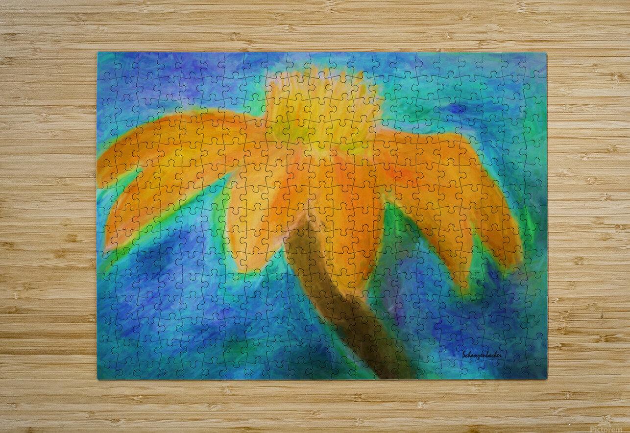 Orange flower  HD Metal print with Floating Frame on Back