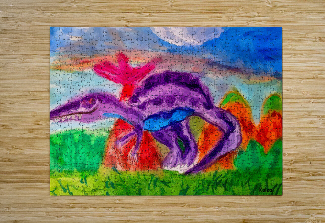 Dinosaur drawn by 5 year old  HD Metal print with Floating Frame on Back