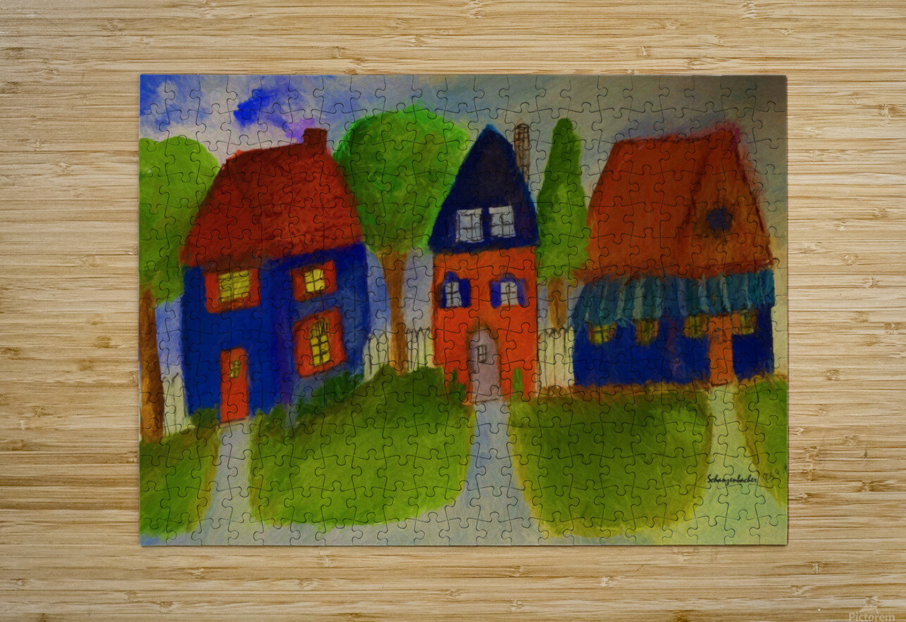 Whimsical Houses  HD Metal print with Floating Frame on Back