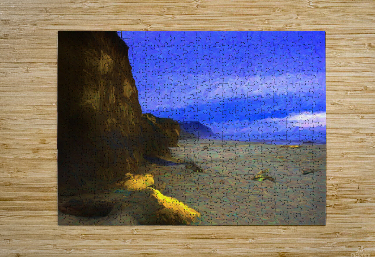 Yachats Beach Painting  HD Metal print with Floating Frame on Back