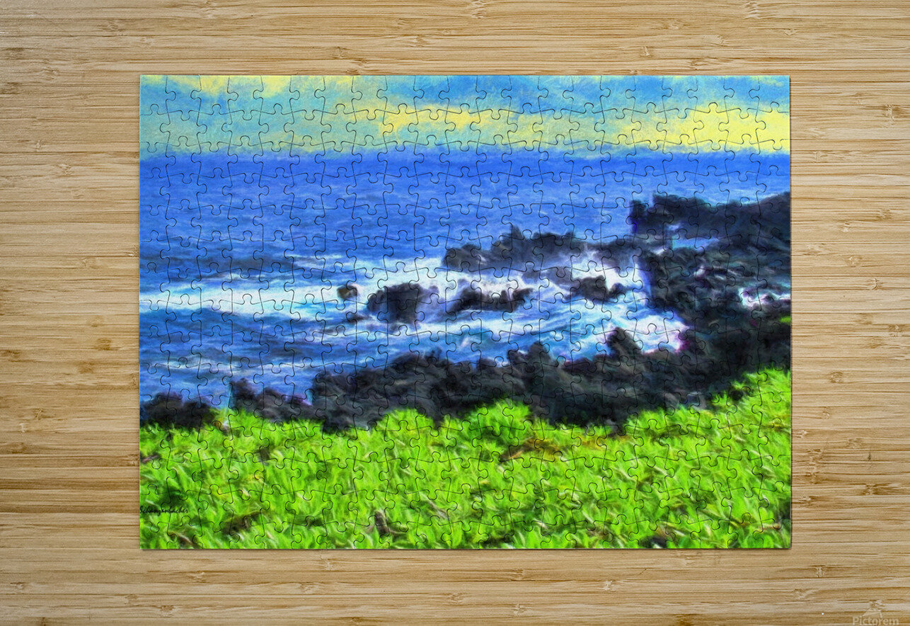 Hana Beach Hawaii Watercolor  HD Metal print with Floating Frame on Back