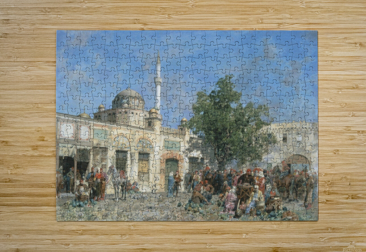 The market of Constantinople  HD Metal print with Floating Frame on Back