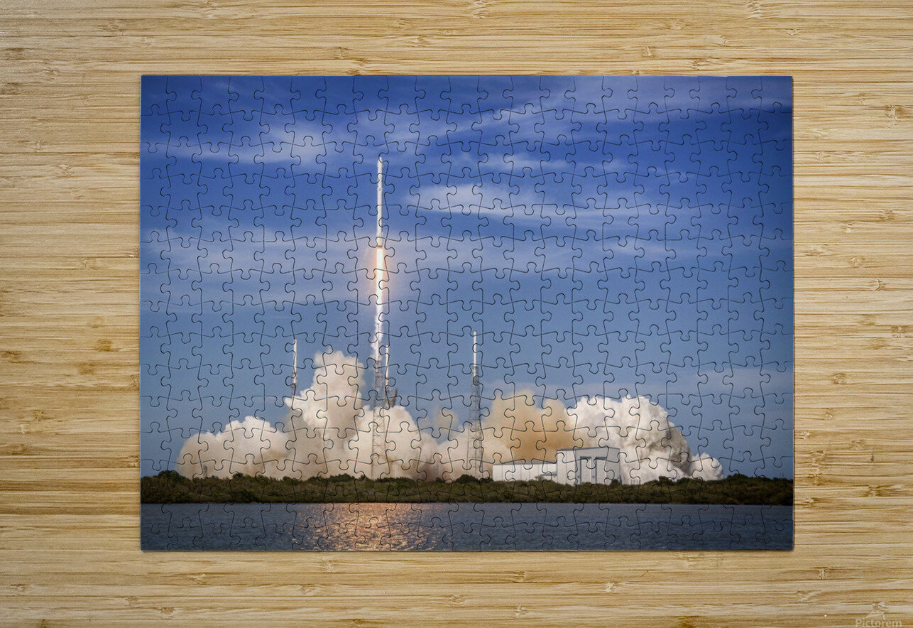 Falcon 9 Lifts Off from Space Launch Complex 40  HD Metal print with Floating Frame on Back