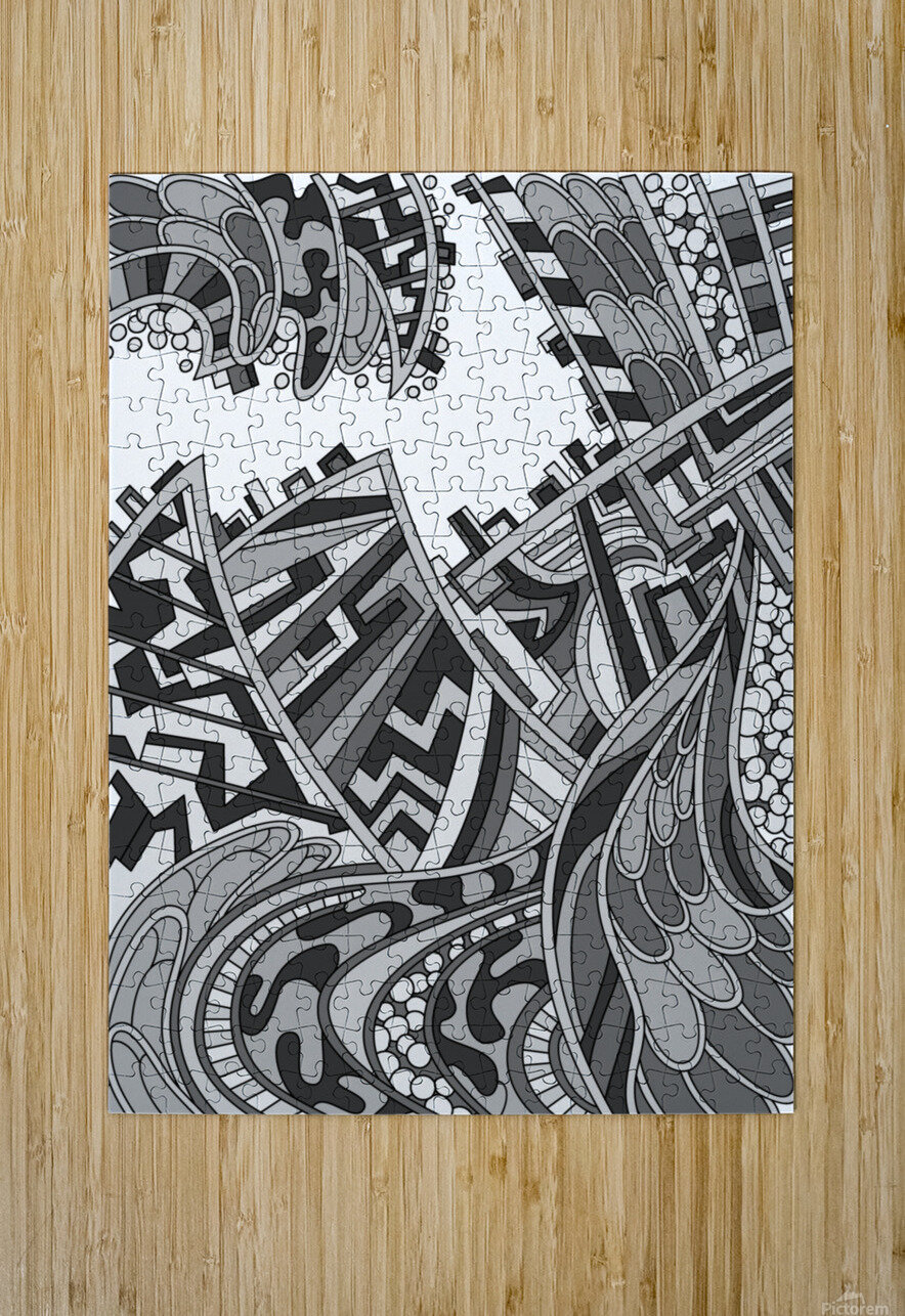 Wandering Abstract Line Art 01: Grayscale  HD Metal print with Floating Frame on Back