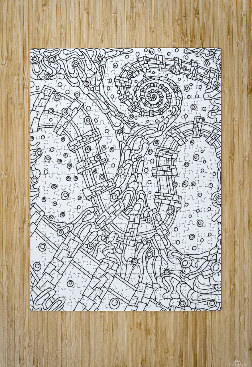 Wandering Abstract Line Art 02: Black & White  HD Metal print with Floating Frame on Back