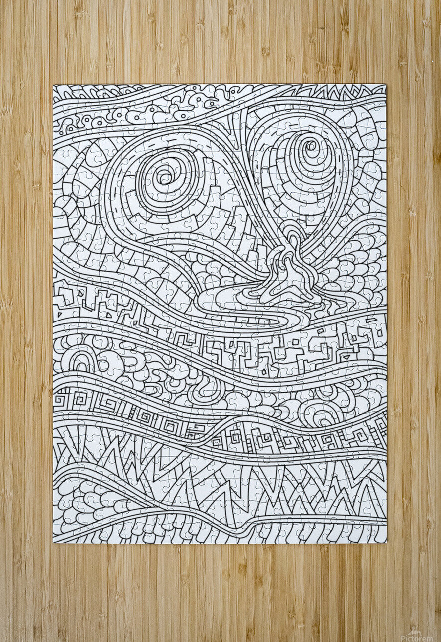 Wandering Abstract Line Art 03: Black & White  HD Metal print with Floating Frame on Back