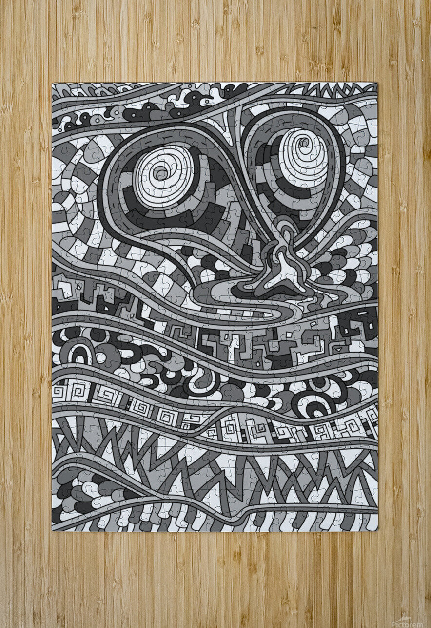 Wandering Abstract Line Art 03: Grayscale  HD Metal print with Floating Frame on Back
